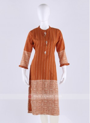 Silk striped kurti in orange color