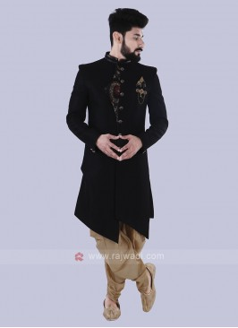 Silk Stylish Indo Western In Black Color