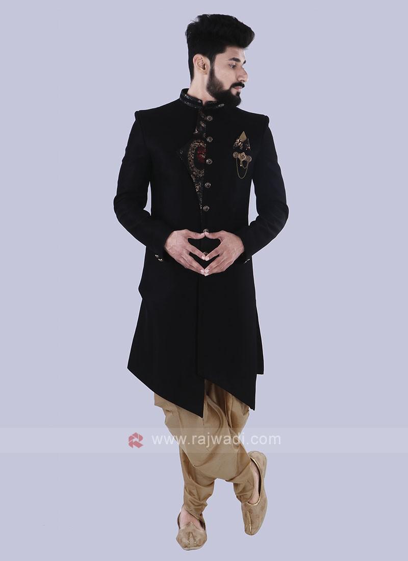 Silk Stylish Indo Western In Black Color