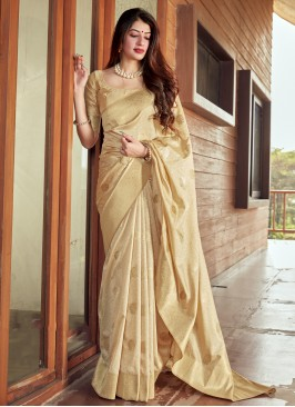 Silk Traditional Saree in Beige