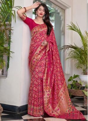 Silk Traditional Saree in Magenta