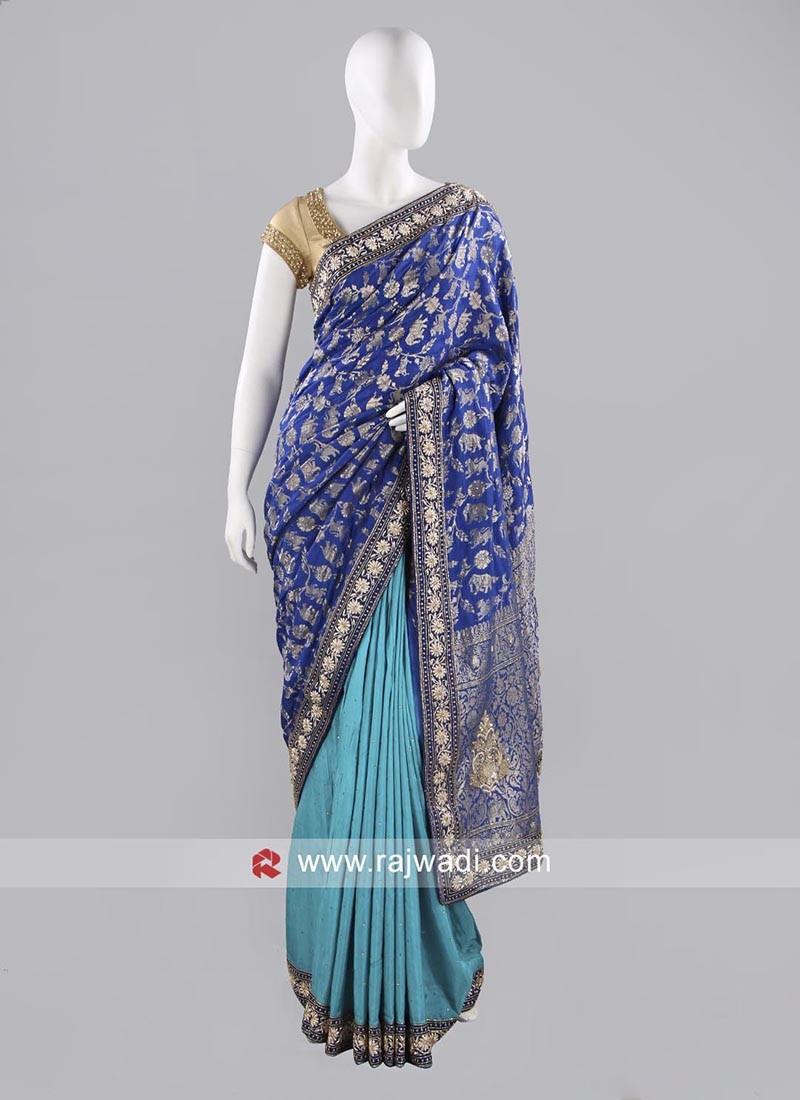 Silk Two Tone Designer Sari