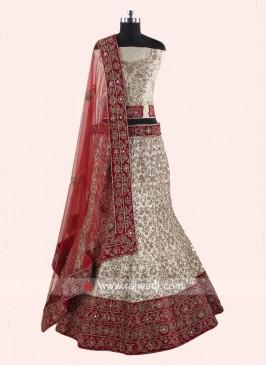 Silk Unstitched Lehenga Choli for Bride