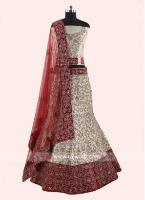 Silk Unstitched Lehenga Choli for Bride