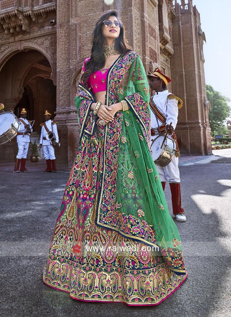 Silk Unstitched Lehenga Choli with Dupatta
