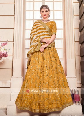 Silk Wedding Lehenga Set in Mustard Yellow