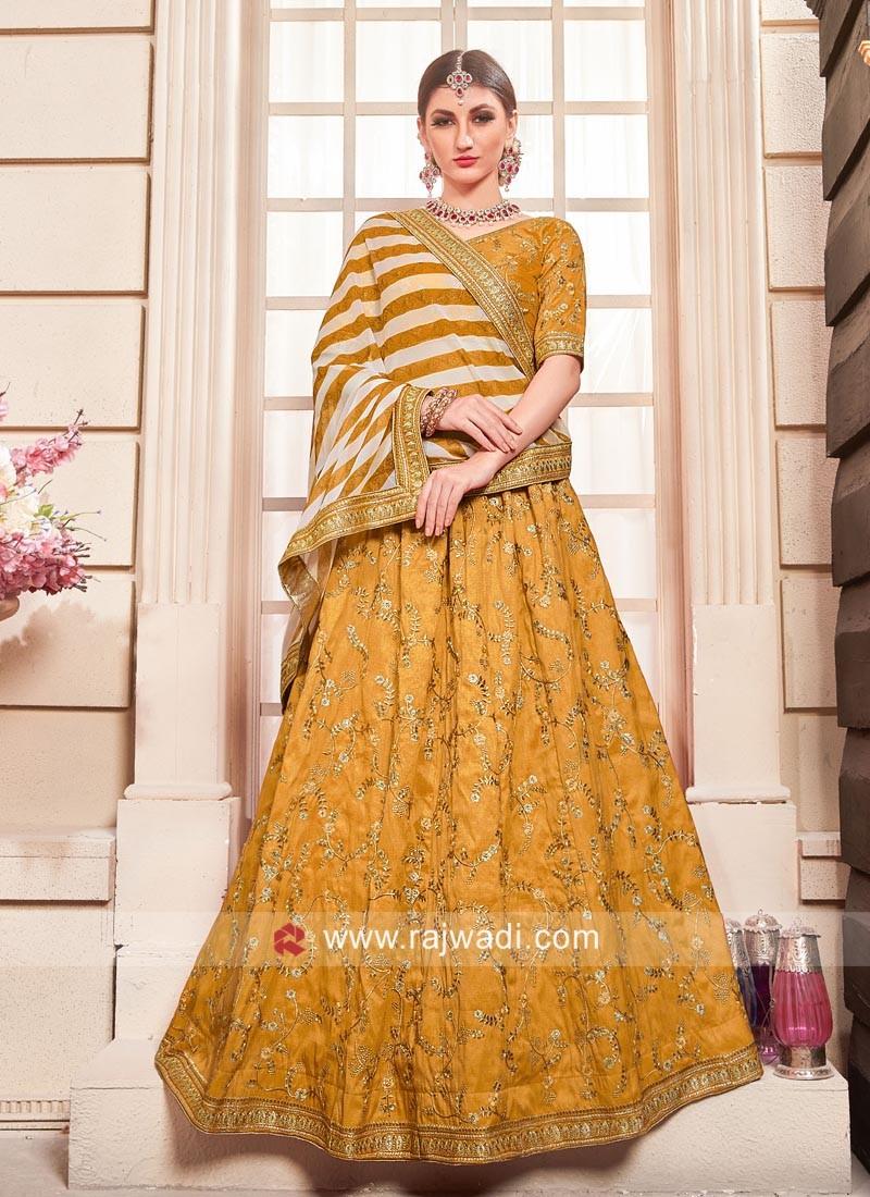 Silk Wedding Lehenga Set in Mustard Yellow