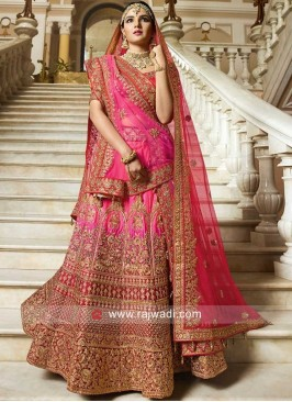 Silk Unstitched Shaded Lehenga Choli