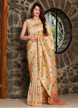 Silk Weaving Traditional Designer Saree in Beige