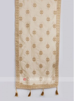 Silk Wedding Dupatta In Cream Color
