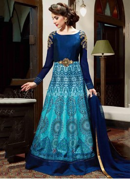Silk Wedding Floor Length Anarkali Dress Material