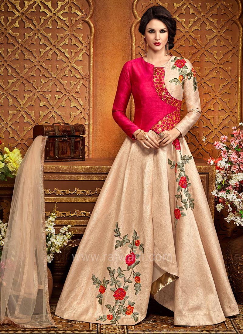 Silk Wedding Layered Style Dress Material