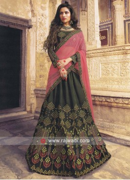 Silk Wedding Lehenga in Olive