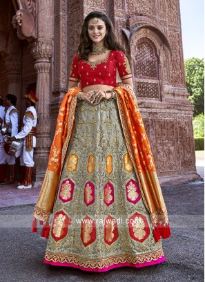 Silk Wedding Reception Lehenga Set