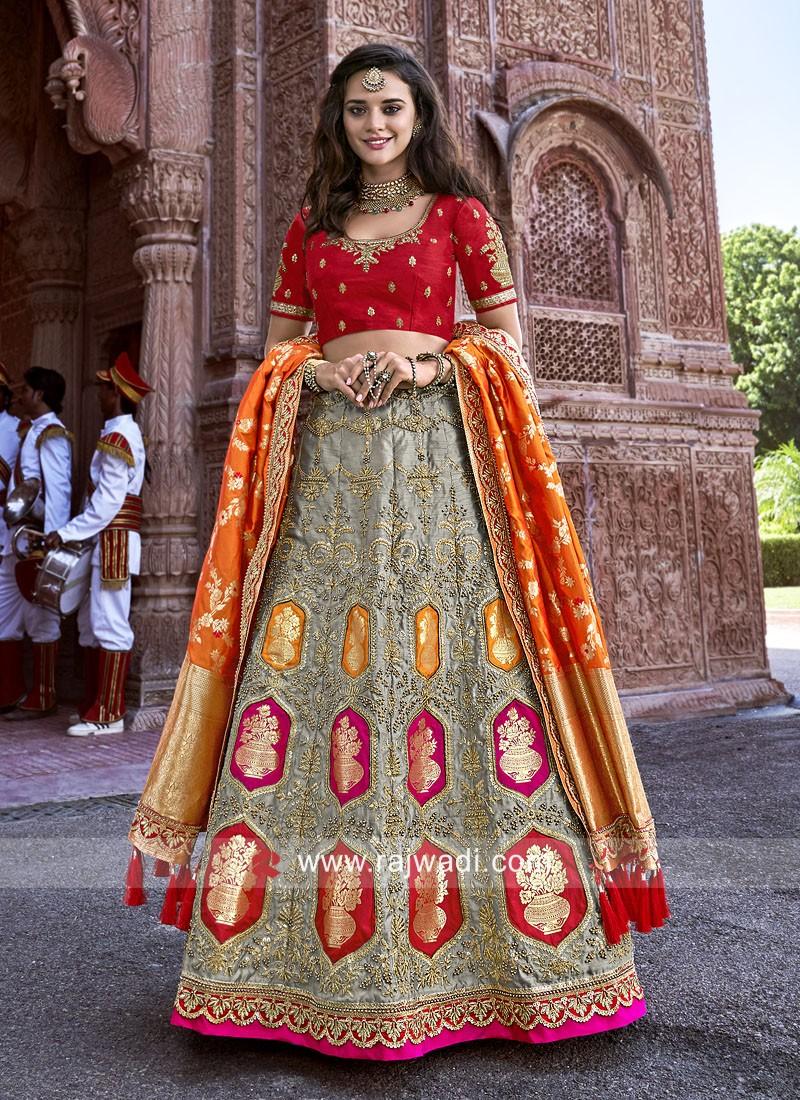 Silk Wedding Reception Lehenga Set