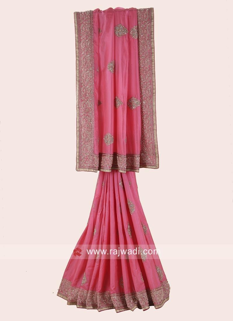 Silk Wedding Saree in Peach
