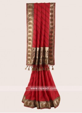 Silk Wedding Saree in Red