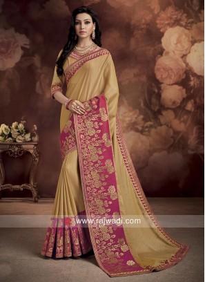 Silk Wedding Saree with Contrast Border