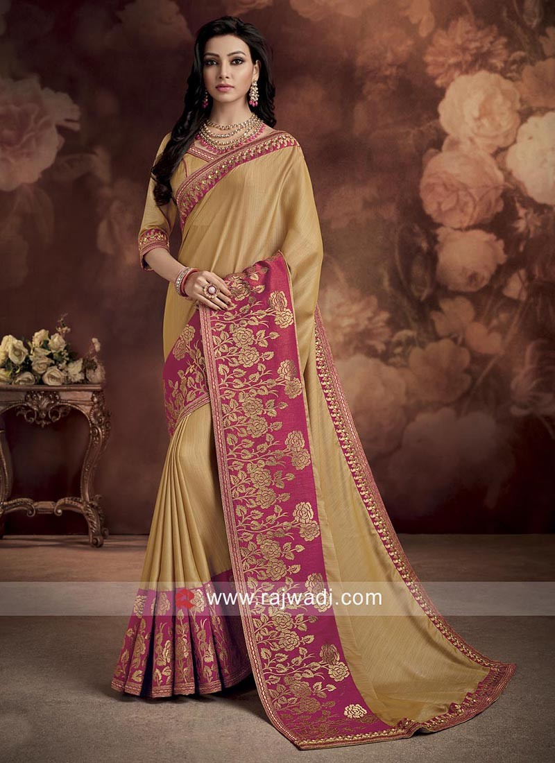Silk Wedding Saree with Contrast Border