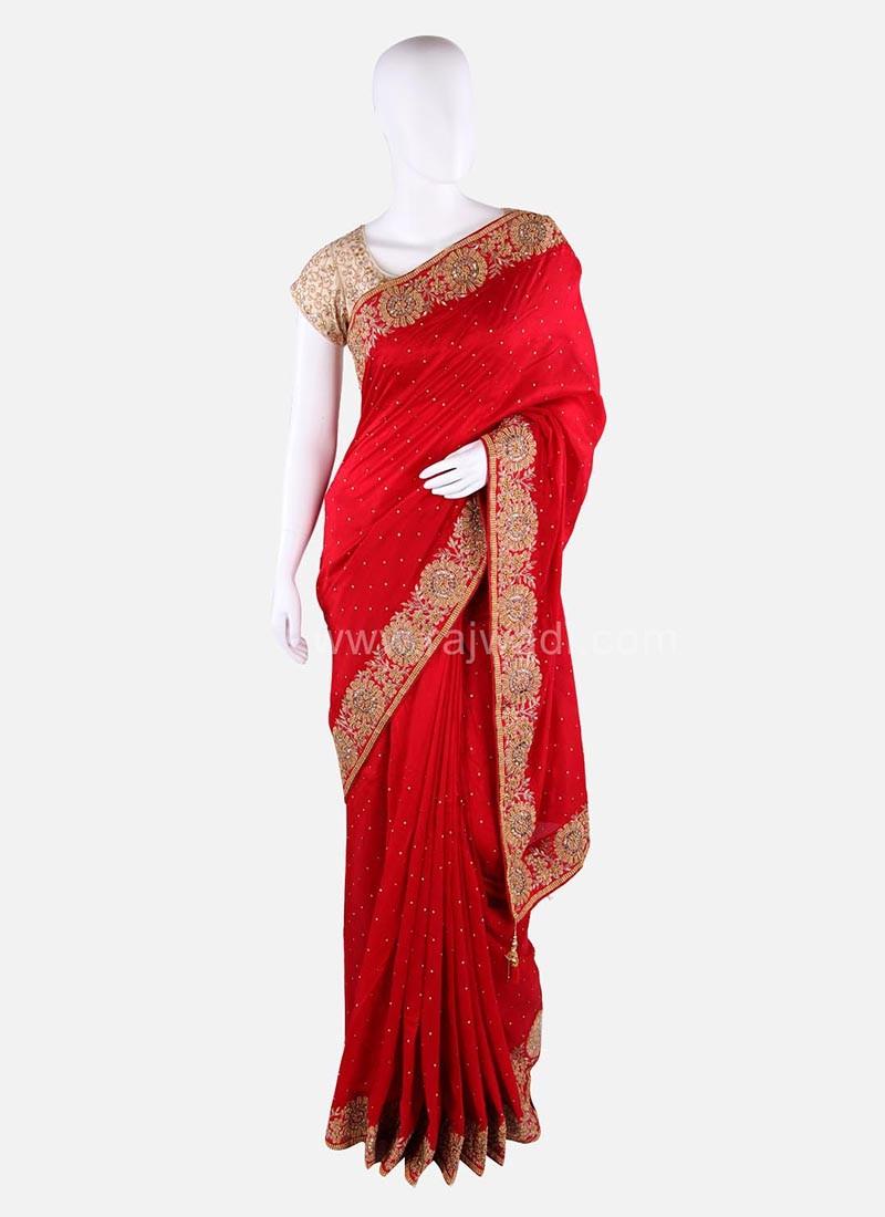 Silk Wedding Saree with Designer Border