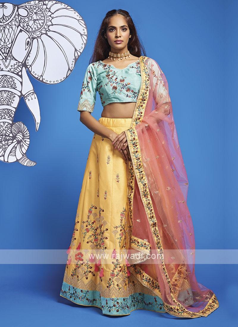 Silk Yellow And Blue Lehenga Choli