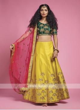 Silk Yellow And Green Lehenga Choli