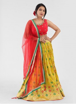Silk Yellow And Red Choli Suit For Functions