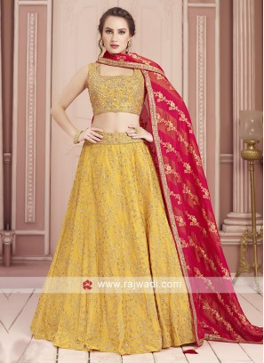 Silk Yellow Choli Suit For Wedding