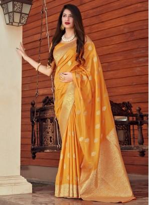 Silk Yellow Designer Traditional Saree