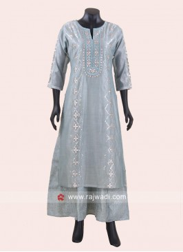 Silk Zari Work Double Layered Kurti