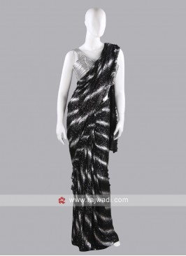 Silver and black net saree