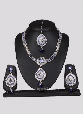 Silver and Blue Zinc Alloy Necklace Set