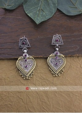 Silver and Golden Heart Shaped Earrings