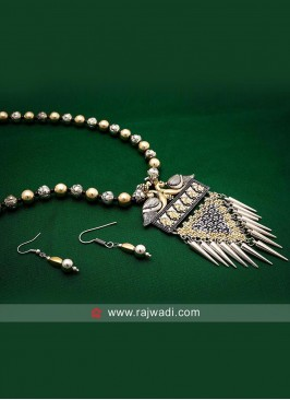 Silver and Golden Oxidized Necklace Set