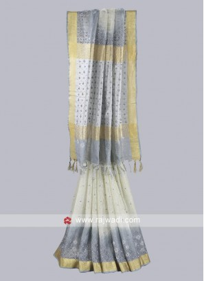 Silver and grey color linen fabric saree