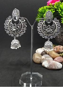 Silver Color Chandbali Earrings