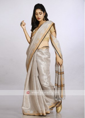 Silver color plain casual saree