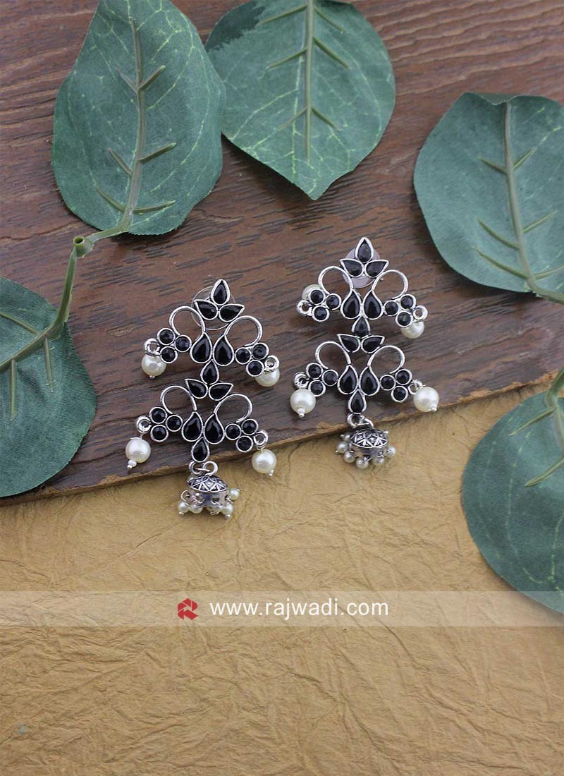 Silver Flower Motifs Earrings