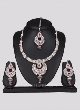 Silver Necklace Set Pink Diamond Work