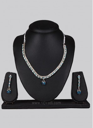 Silver Necklace Set with Dangler Earrings