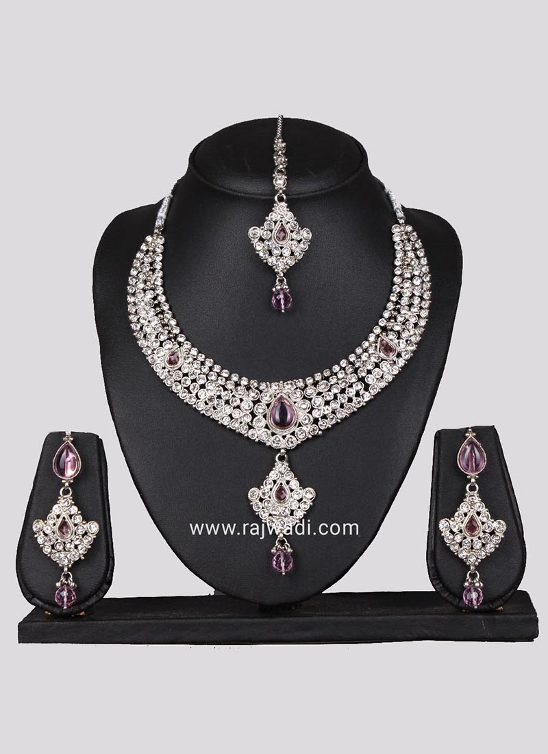 Silver Necklace Set with Earrings and Maang Tikka