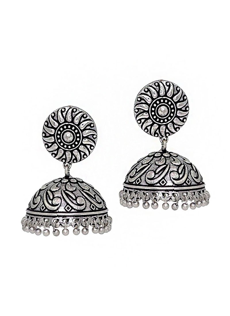 Silver Rhodium Plated Jhumki Earrings