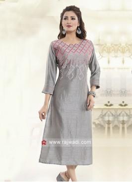 Silver Silk Resham Work Kurti