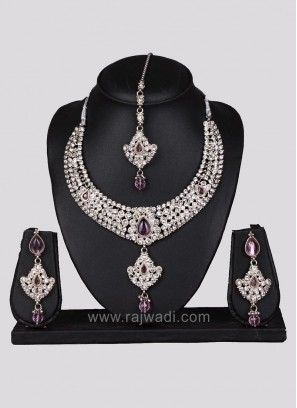 Silver Traditional Nacklace Set with Diamond Work