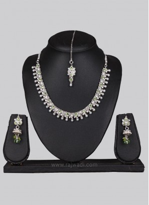 Silver Traditional Necklace Set with Maang Tikka