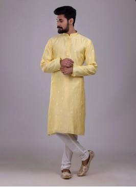 Simple And Sober Kurta Pajama In Yellow Color