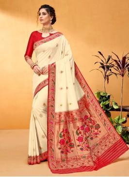 Simple And Sober Off-White And Red Banarasi silk Saree