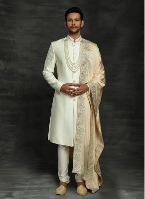 Simple And Sober Sherwani In Cream Color