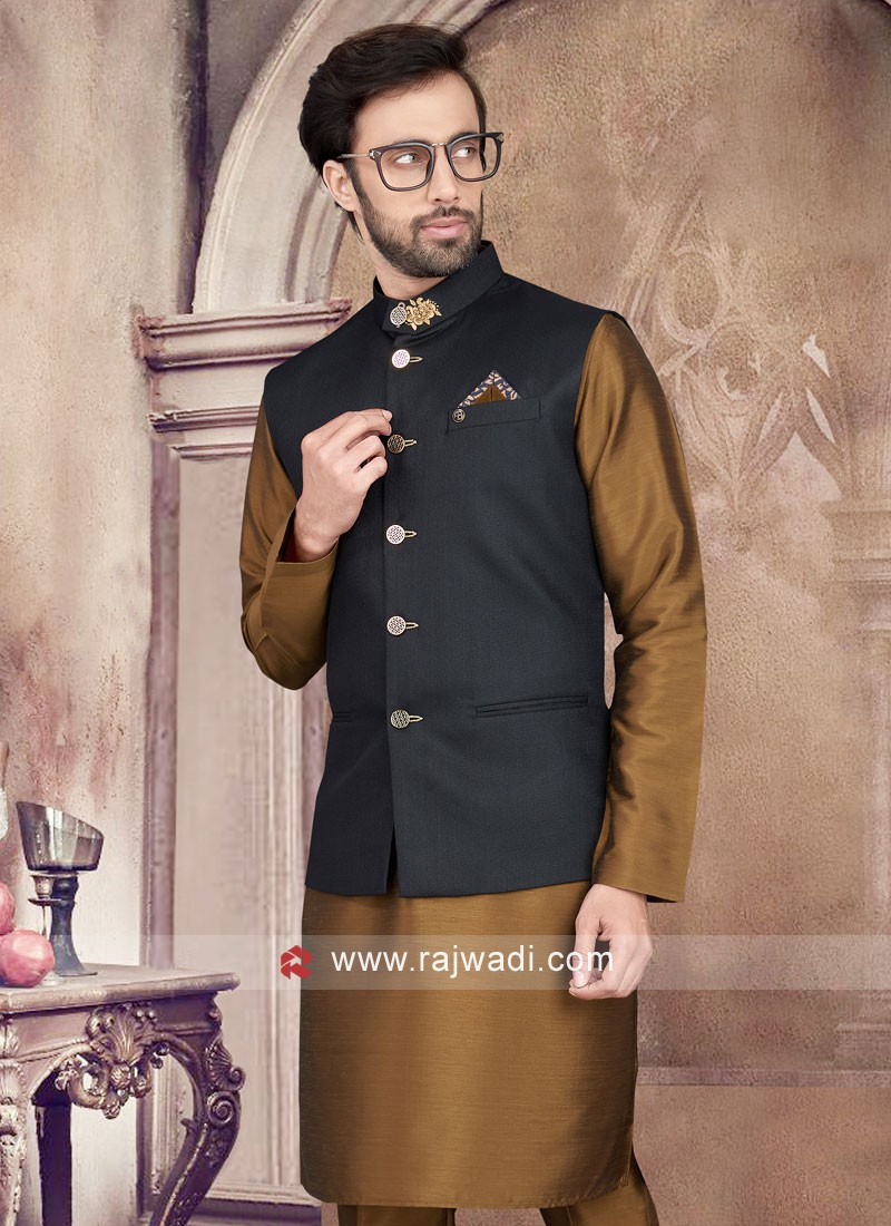 SImple And Sophisticated Golden Brown And Black Color  Nehru Jacket  Set