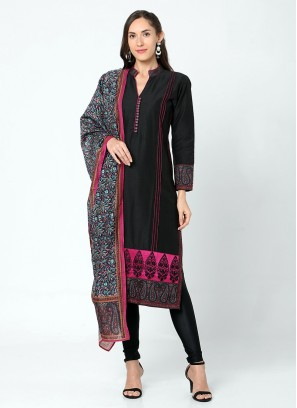 Simple Black Color churidar Suit Set
